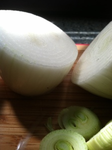 Fresh sliced onions